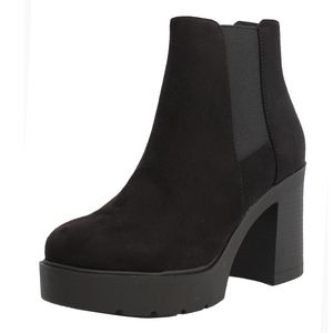 Black Faux Suede Chelsea Lug Block Heel Ankle Boot